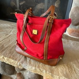 Awesome Red Ralph Lauren Tote Leather & Canvas